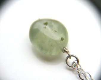 Prehnite Necklace . Small Stone Necklace . Mint Green Gemstone Necklace - Verdigris Collection