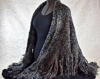Handwoven Shawl in black, grey, brown, and a hint of teal, in a subtle plaid