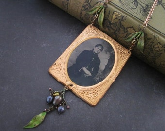 Antique Tintype Necklace Assemblage woman of the woods