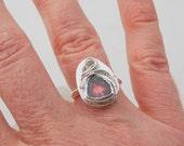 Watermelon Tourmaline Ring, Artisan Jewelry, Tourmaline Slice, Tourmaline Crystal, Raw Quartz, Wire Wrap Ring, Sterling Silver