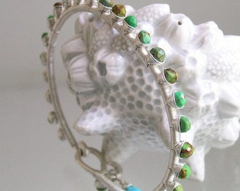 Green Turquoise Silver Bracelet, Wire Wrapped Gemstone Bangle, Studded, Southwestern, Modern, Stackable, Original Design, Signature