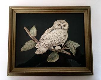 Owl Paper Cut Art Three Dimensional Handmade Shadow Box Frame Bird Ornithology