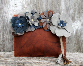 Leather Flower Clutch with Blue and Gray Flowers by Stacy Leigh in Marbled Dark Chestnut Brown