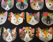 Robert Kaufman Whiskers & Tails cat heads - 1 yard