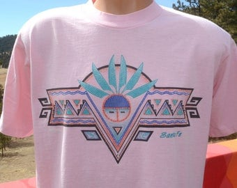 vintage 90s tee SANTA FE new mexico native american indian turquoise t-shirt Large XL pink