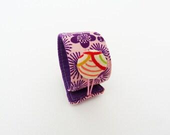 Kimono cuff bracelet, vintage kimono fabric cuff, pink and purple floral design