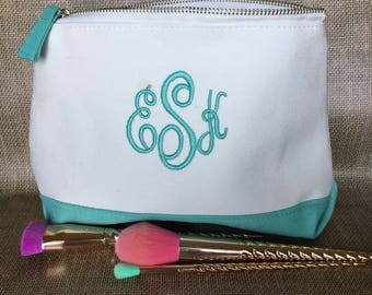 Monogram cosmetic bag - personalized makeup bag - monogrammed canvas pouch - travel makeup bag - gift for her - travel gift