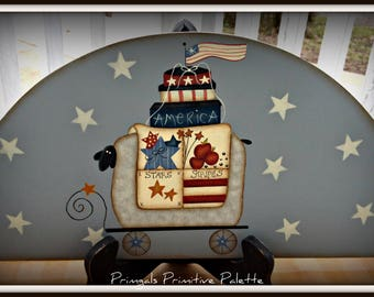 Americana Sheep Stars Wood Door Crown Topper Plaque-Home Decor