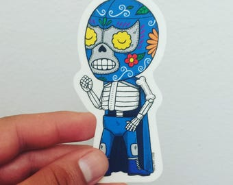 Blue Demon Calavera Clear Vinyl Sticker Day of the Dead