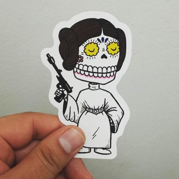 Leia Calavera Die Cut Vinyl Sticker