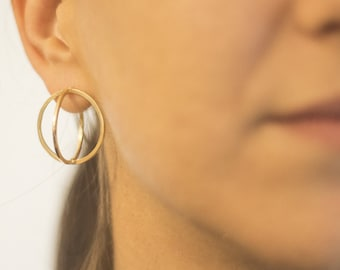 SUN-3D Architectural Sculptural Earrings, Gold Plated  Silver Post Earrings, Minimalistic Silver Earrings