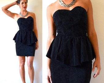 JANUARY SALE / 20% off Vintage 80s Black Suede LEATHER Strapless Peplum Mini Dress (size small)