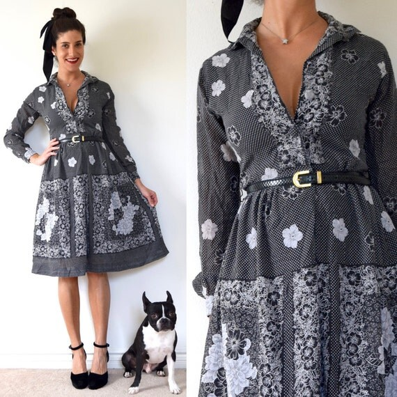 SPRING SALE/ 20% off Vintage 50s 60s Black and White Polka Dot Floral Cotton Voile Long Sleeved Shirt Waist Dress (size xs, small)