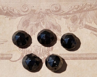 ON SALE 20% Vintage Antique Victorian old French set of 5 faceted jet cabochon black mourning jewelry supplies beads