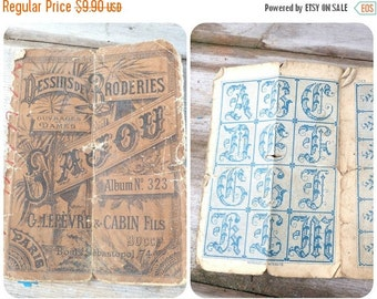 ON SALE 20% Vintage Antique 1900 French timeworn SAJOU album cross stiched samples