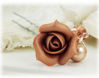 Rose Gold Rose Bud Crystal Pearl Hair Pin - Rose Gold Floral Bridal Hair Accessories