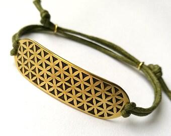 Flower of Life Brass Bracelet - Sacred Geometry Pattern - Minimalistic