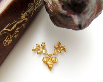 BRASS * (4 Pieces) Small Acorn With Oak Leaf Stamping ~ Jewelry Ornament Findings ~ Brass Stamping (C-1308)