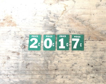 2017 Sign, Vintage Numbers, Save the Date Numbers, Custom Year, Custom Numbers, Vintage Price Tags, 1940's General Store Numbers, Year 2017