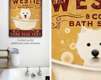 Westie West Highland Terrier dog bath soap Company artwork on gallery wrapped canvas by Stephen Fowler