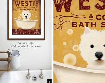 Westie West highland Terrier dog bath soap Company vintage style artwork by Stephen Fowler Giclee Signed Print