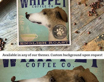 Whippet dog coffee illustration giclee unframed signed artists print by stephen fowler Pick A Size