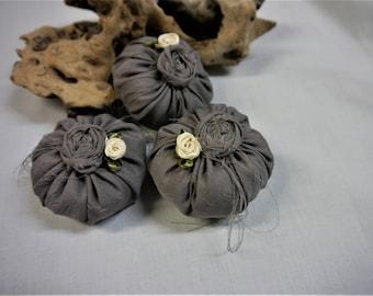Lavender  Silk Cushions/ Sachets- Set off 3 Handmade - Taupe