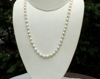 Cultured freshwater pearl LGBTQ necklace hand knotted on silk 21 inches
