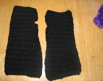 crochet fashion fingerless gloves arm warmers Black handmade stylish