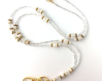 Beaded Lanyard - White Pearls, Clear Crackle Glass, Crystal Rondelles, Gold Plated Beads