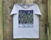 Running Moose and Pines Short Sleeve Unisex Tee