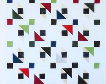 "Unfinished Modern Quilt Top White + Jewel Tones 36"" x 51"""