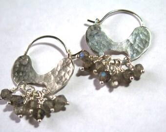 Labradorite Earrings, Beaded Hoop Earrings, Delicate Hoops, Hammered Sterling Silver, Organic Earrings