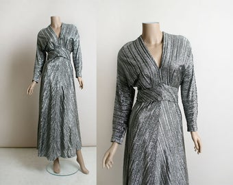 Vintage 1970s Maxi Dress - Silver Lurex Disco Futuristic Floor Length Gown - Long Sleeve Open Back - Metallic Sparkle Tinsel - Small Medium