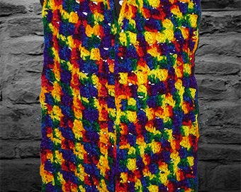 Crochet Long Scarf, Muffler, Bufanda, Brilliant Primary Colors