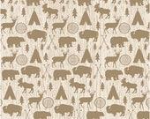High Adventure fabric, Deer Fabric, Bear, Adventure Party, Lumberjack Chic, Farmhouse decor, Adventure Main in Cream, Choose the cut