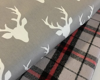 Plaid fabric, Hello Bear fabric, Buck Forest Mist, Mammoth Flannel, Christmas Flannel- Fabric Bundle of 2, Choose The Cuts