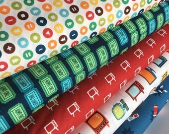 Theater fabric, Drive in Movie, Movie Invitation Fabric, Let Me Entertain You fabric, Movie Room Decor, Bundle of 5- Choose the Cuts