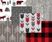 Custom for Ashley Evans MOD Woodland Deer Arrows Grey Red & Black Buffalo Plaid Baby Nursery Crib Bedding Set