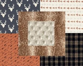 Rustic Plaid Deer Hide Woodland Arrows Navy Tan Beige Orange & Cream Baby Nursery Crib Bedding Set CHOOSE and CUSTOMIZE
