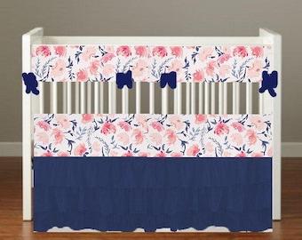 Custom Registry for KATE BOYER Navy Blue 3 Tier Ruffled Crib Skirt Baby Nursery Bedding
