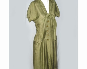 SALE Vintage 1950's Green Silk Day Dress with Tie Front