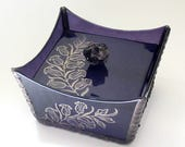 Deep Purple with Gold Nature Designs  Stained Glass Box with Melted Salvaged Glass Knob Cover