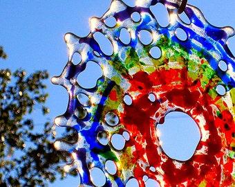 Round Rainbow Fused Glass Mandala Tie Dye Abstract Suncatcher