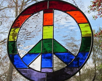 Stained Glass Rainbow Peace Sign Suncatcher Wavy Waterglass