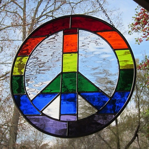 Stained Glass Rainbow Peace Sign Suncatcher Wavy Waterglass