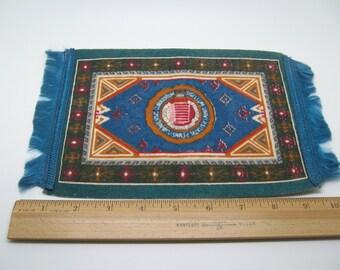 Large Antique Cigarette Silk Fringed Rug Teal Blue U of Penn