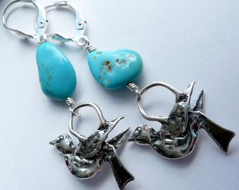 Sterling Silver Artisan Doves RARE Castle Dome Turquoise OOAK Southwestern Boho Hippie Peace Love Gift for Her Long Dangle Earrings