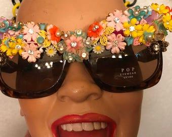 Multi Flower Garden Glass Rhinestone  Sunglasses by Jan Carlin One of a Kind Hollywood Glam