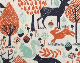 custom bandana bib~ navy/orange woodland animals ~  drool bib ~ chic couture ~ baby accessories ~ custom bandana bib from lillybelle designs